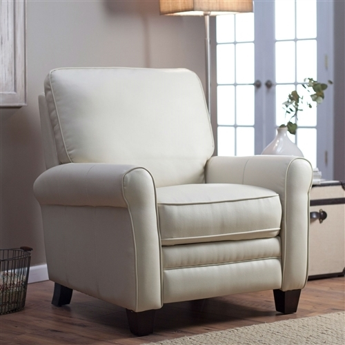 Bonded Leather Club Chair Recliner Soft Cream · Larger Photo